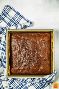 Baked zucchini brownies before cutting