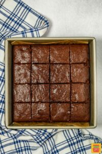 Baked zucchini brownies after cutting