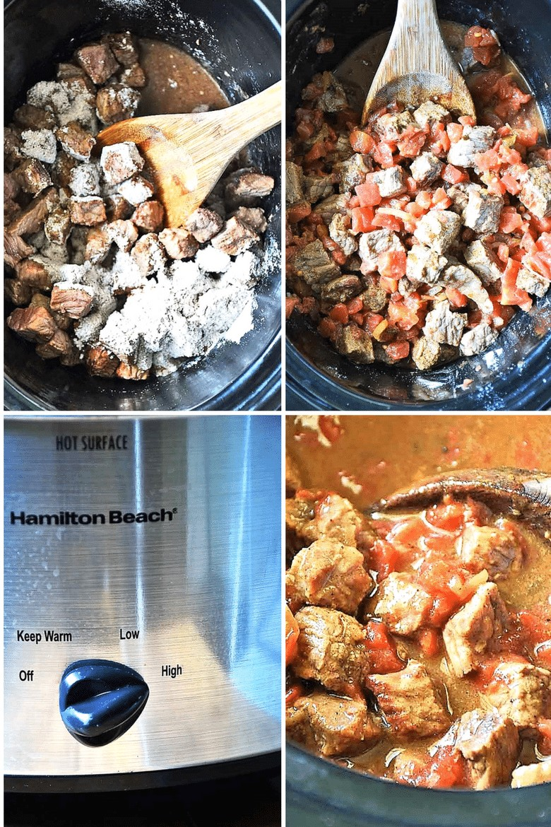 Step by step photos of cooking the beef in the slow cooker