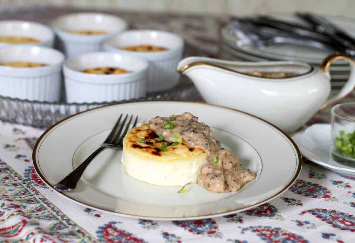 Easy Baked Grits with Sausage Gravy #SundaySupper