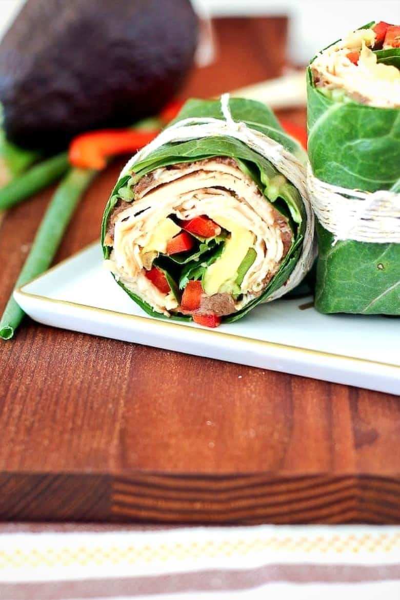 collard wrap with black beans, chicken, and avocado