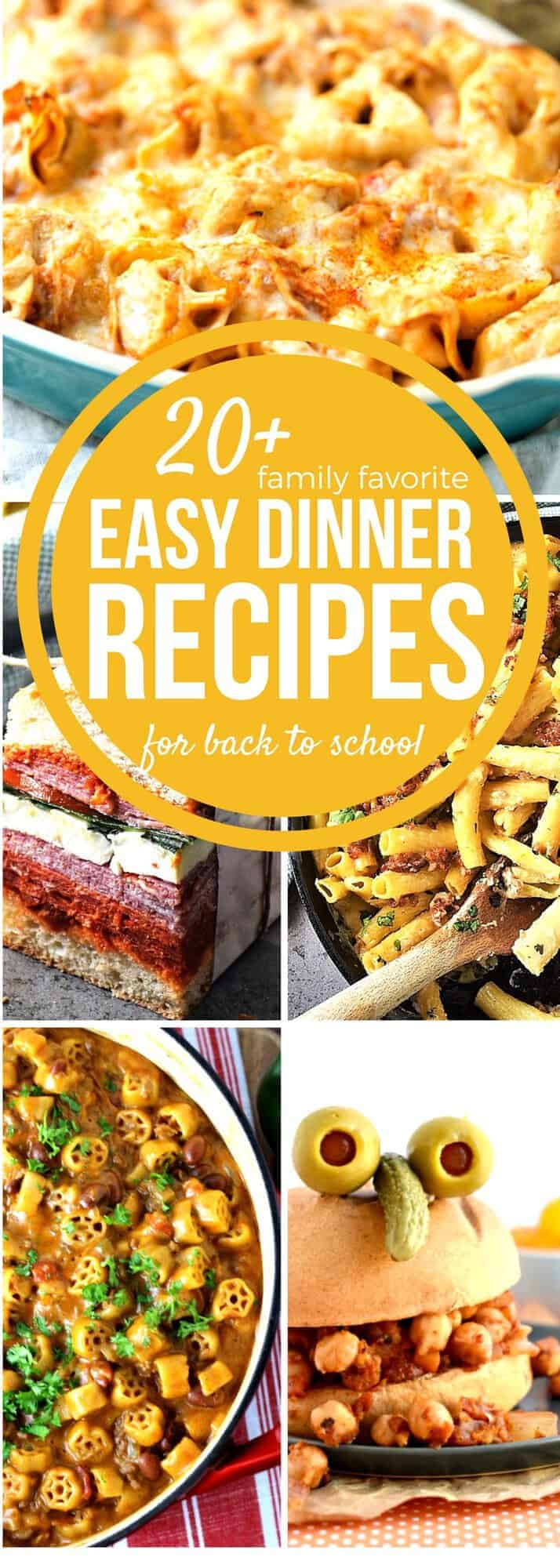 Stress less with our easy Back to School Dinners for your busiest weeknights! Save time, money, & energy with this delicious recipe collection filled with easy recipes the whole family will love! With over 20 easy recipes you will be able to menu plan for a whole month of easy weekday dinners!