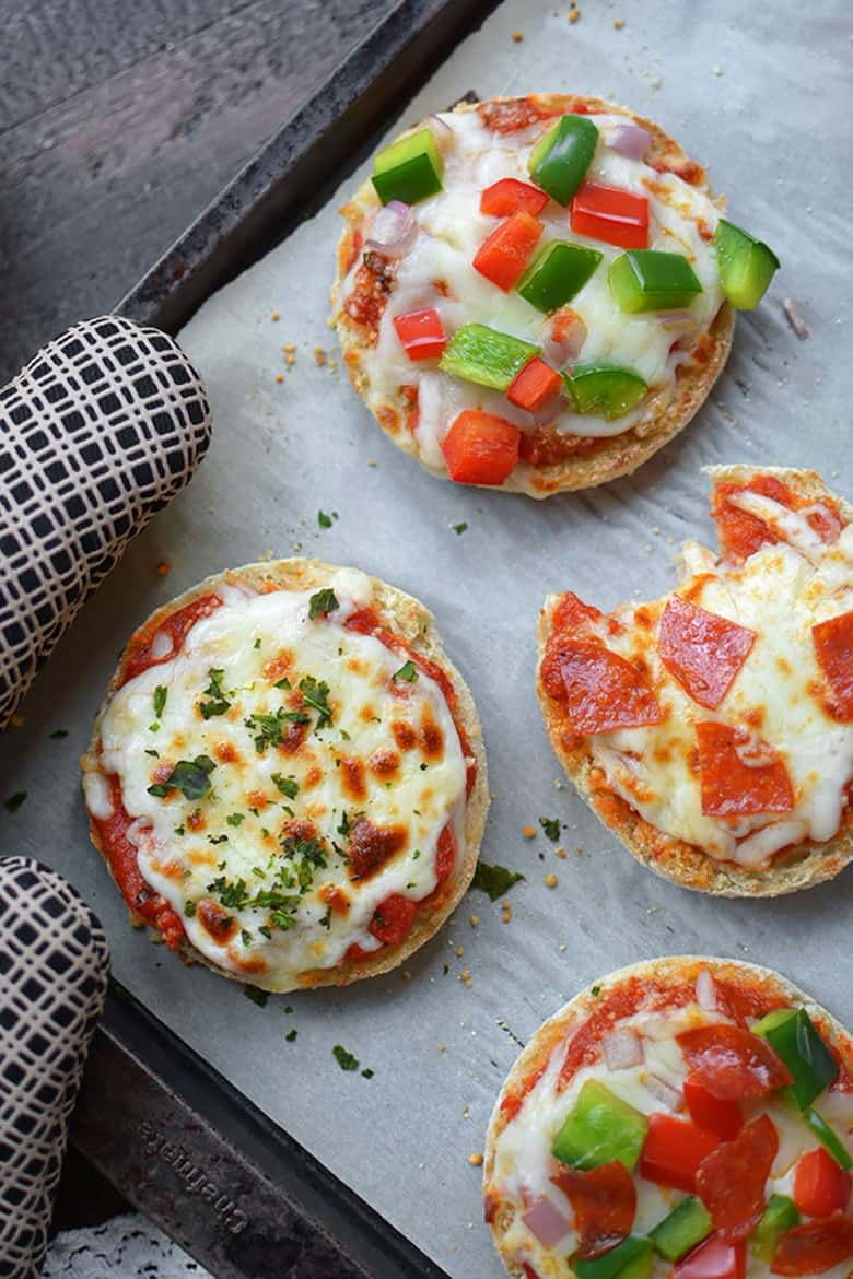 Freezer English Muffin Mini Pizzas from Simple Seasonal