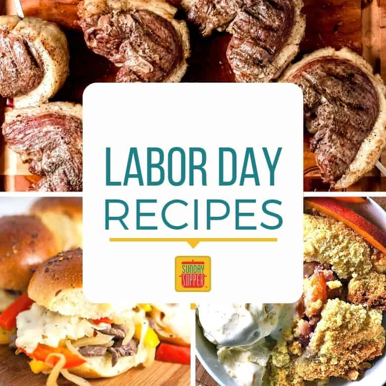 "Collage of Three Labor Day Recipes with the text ""labor Day Recipes"""