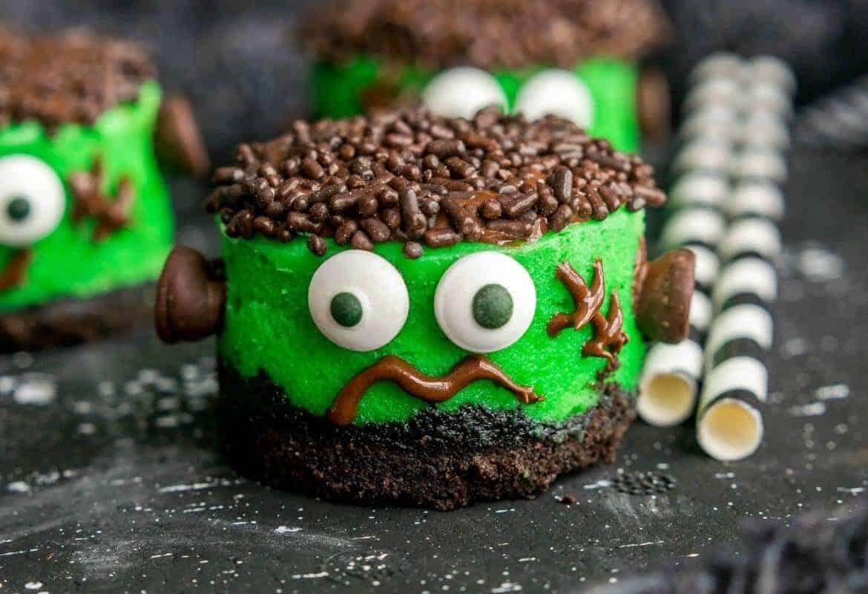 Mini Frankenstein Cheesecakes #SundaySupper