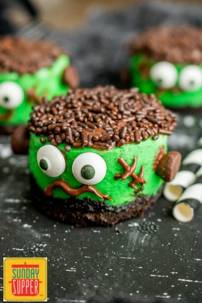 Mini Frankenstein Cheesecakes #SundaySupper