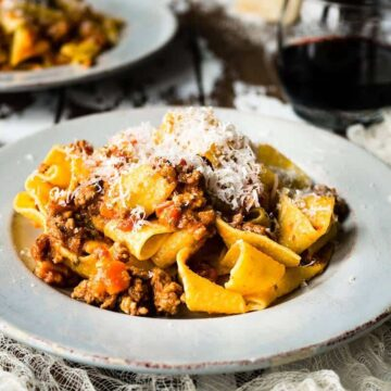 Pappardelle Pasta with the Best Homemade Bolognese Sauce #SundaySupper