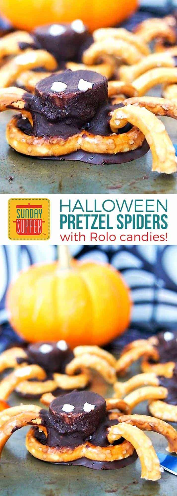 Every Halloween party needs some fun Halloween finger foods! 4-ingredient chocolate pretzel spiders are easy, quick & a tasty sweet-salty mix. Have fun in the kitchen with the kids this Halloween with this fun and tasty craft treat that is just creepy enough for giggles and not too scary. #SundaySupper #HalloweenFingerFoods #HolidayRecipe
