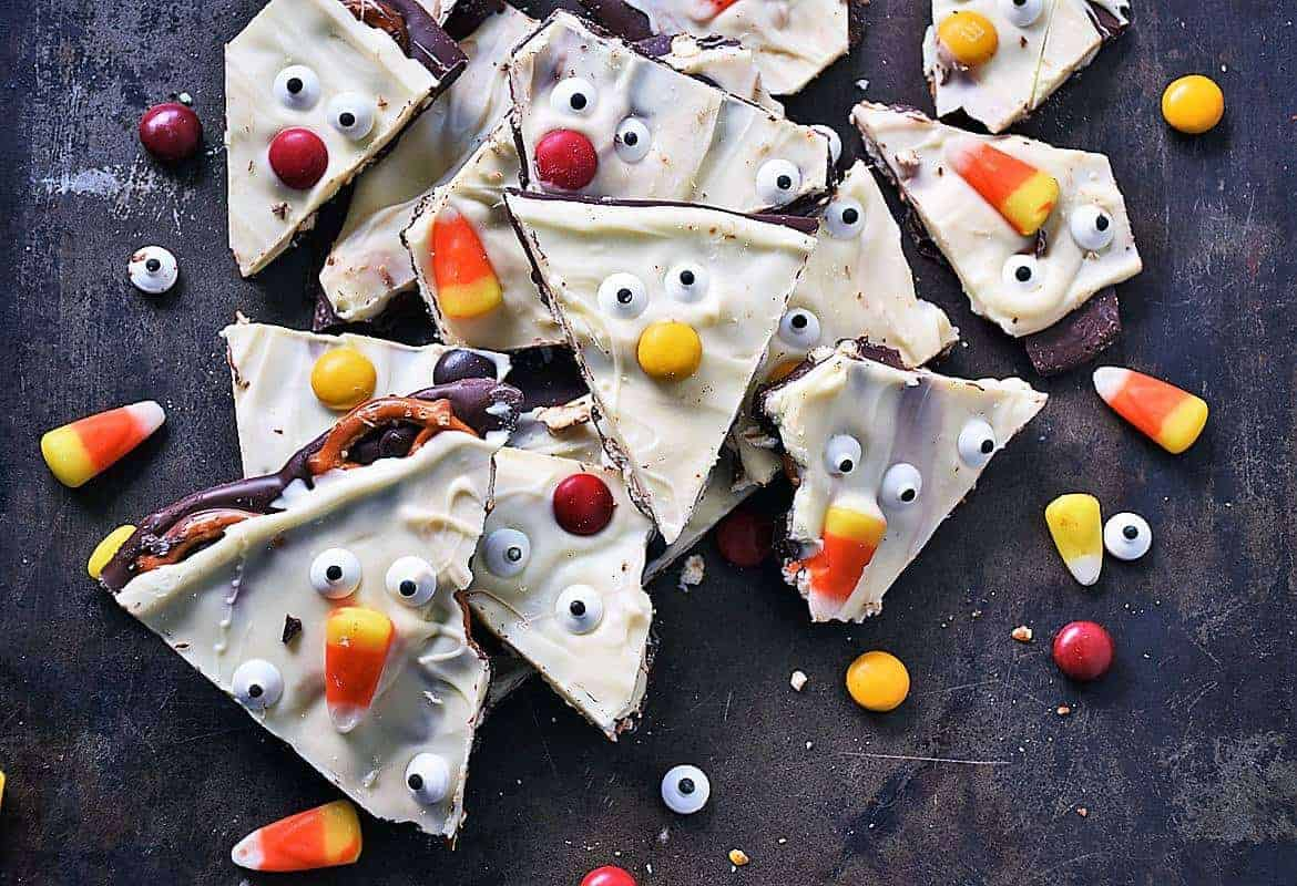 Halloween Chocolate Bark pieces on dark background
