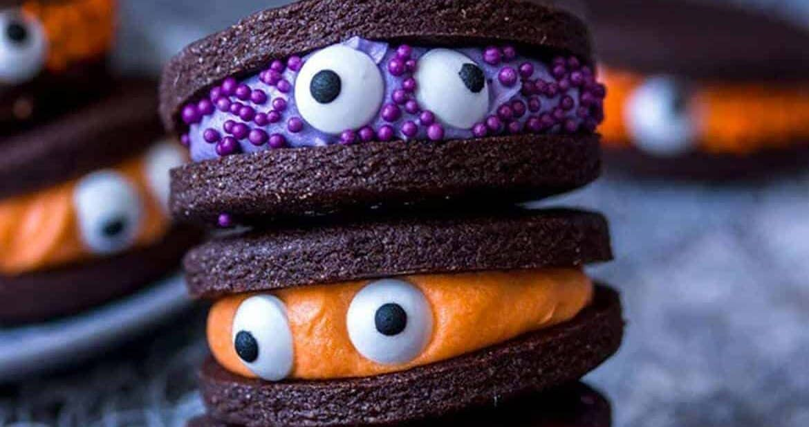 monster cookies by Sugar Salt Magic for Halloween Finger Foods