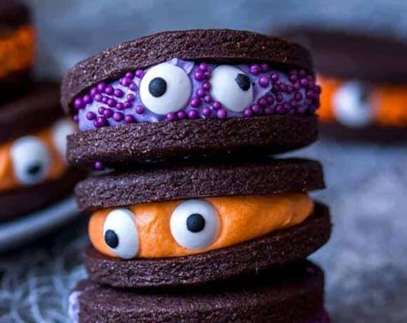 monster cookies by Sugar Salt Magic for Halloween Finger Foods