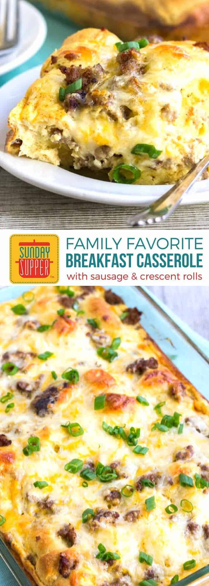 Sausage Breakfast Casserole with Crescent Rolls is an easy breakfast that's great for feeding a crowd! Loaded with lots of flavor from the sausage, cheese, and buttery crescent rolls, this easy recipe is filling, hearty, and so delicious! It tops the list of our favorite Holiday Casserole Recipes. #SundaySupper #EasyRecipe #HolidayRecipe #BreakfastCasserole
