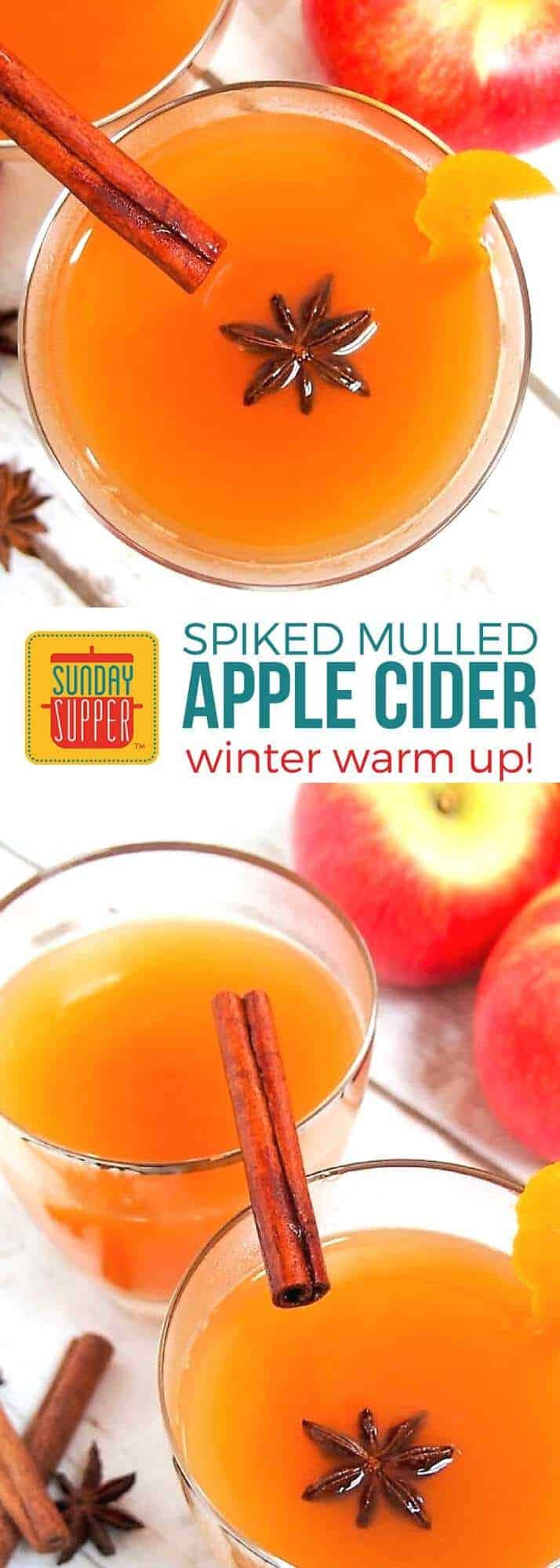 Warm up deliciously with Spiked Mulled Cider this holiday season! Apple cider spiked with a little kick of brandy will be your go-to winter cocktail recipe! This easy recipe of hot apple cider with cinnamon, star anise, cloves, orange peel, and a splash of brandy will get you into the holiday spirit! We love to serve this at all of our holiday parties from Thanksgiving to Christmas, and even New Year's Eve! It's a comforting winter cocktail recipe your friends and family will love! #SundaySupper CocktailRecipes #ComfortFoodRecipe #HolidayRecipes
