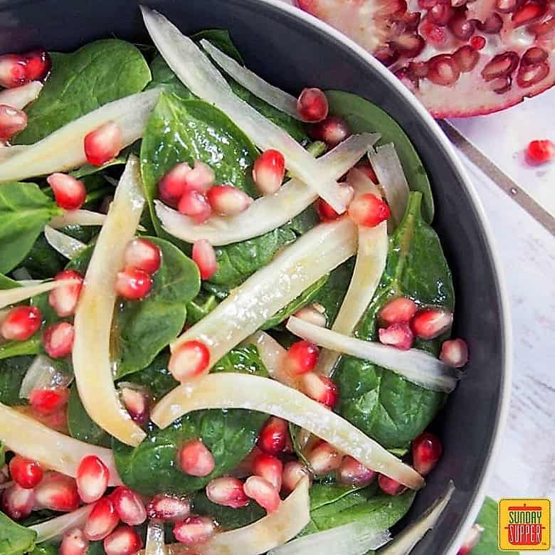 Spinach Pomegranate Salad #SundaySupper