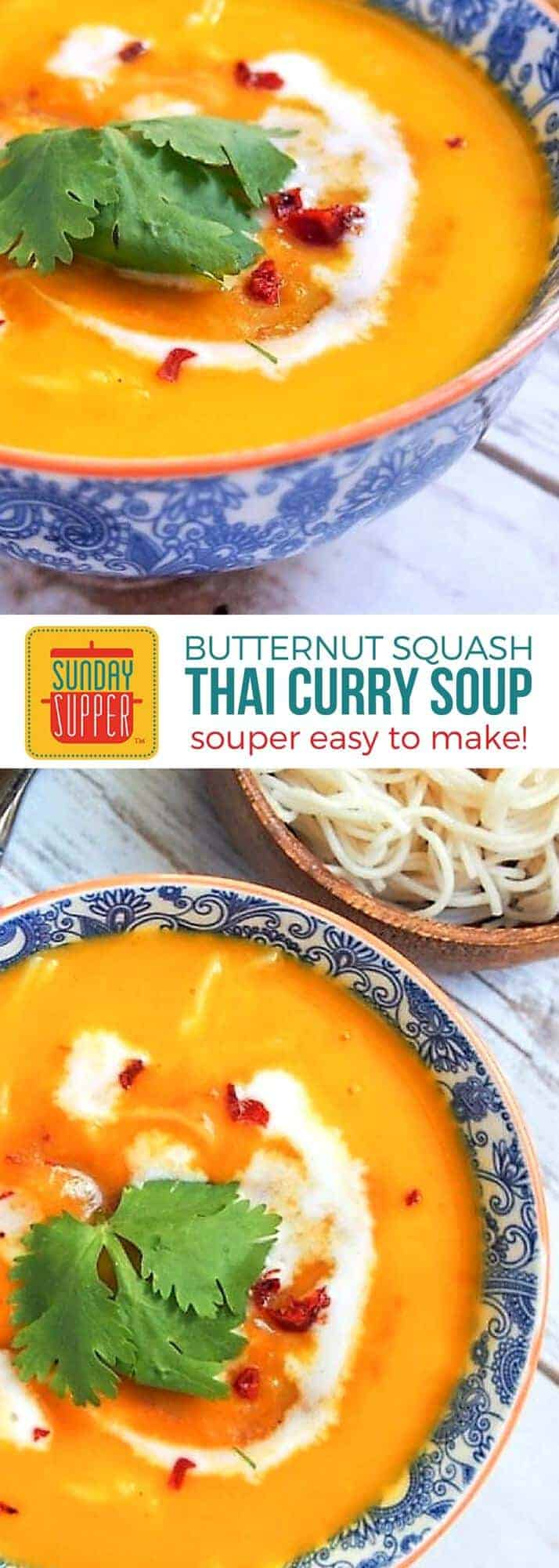 Thai Squash Soup is comfort food to warm your soul! This easy recipe has silky smooth butternut squash kicked up a notch with Thai curry flavor. A great big hug in a bowl your family with love! #SundaySupper #ComfortFoodRecipe #ThaiSquashSoup