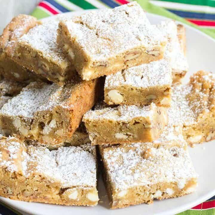 Chewy Blondies Recipe #SundaySupper