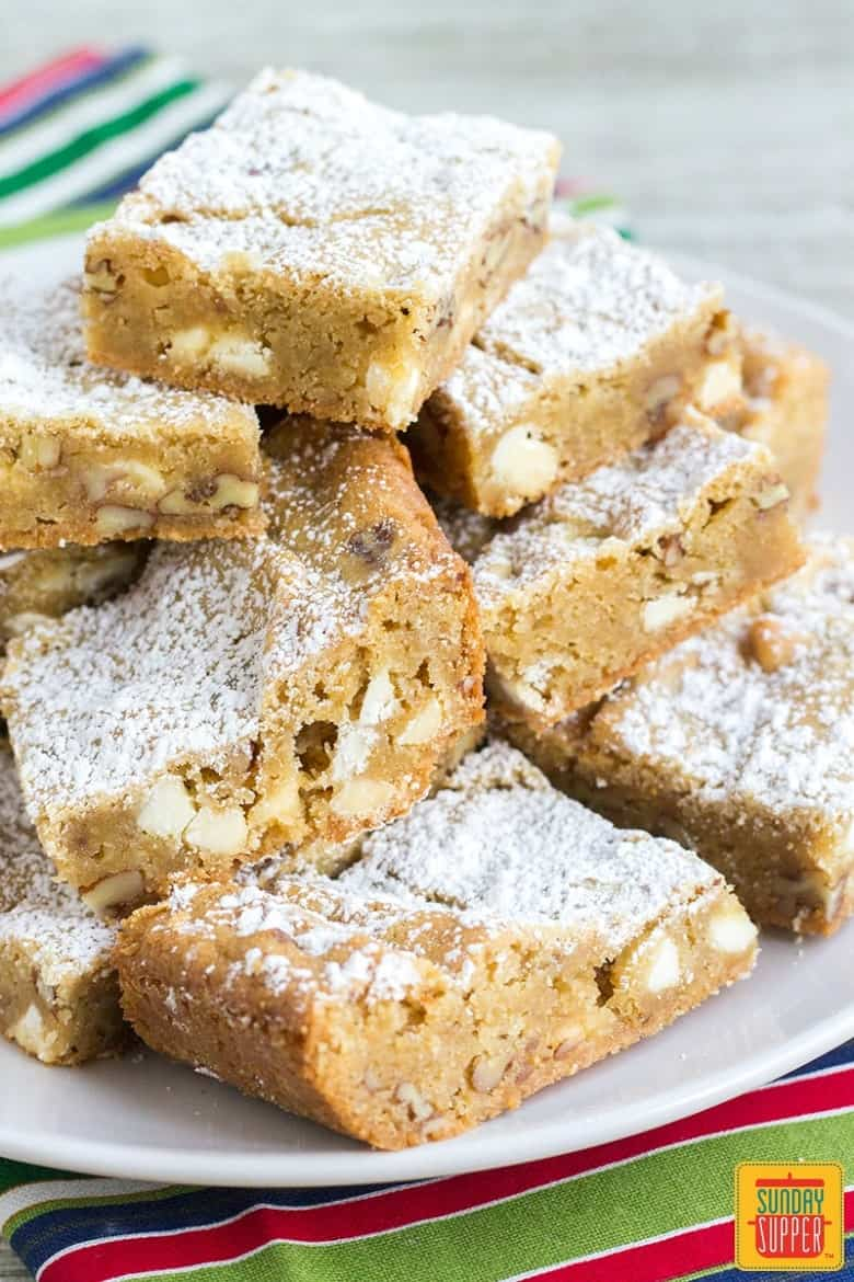 Chewy Blondies Recipe #SundaySupper
