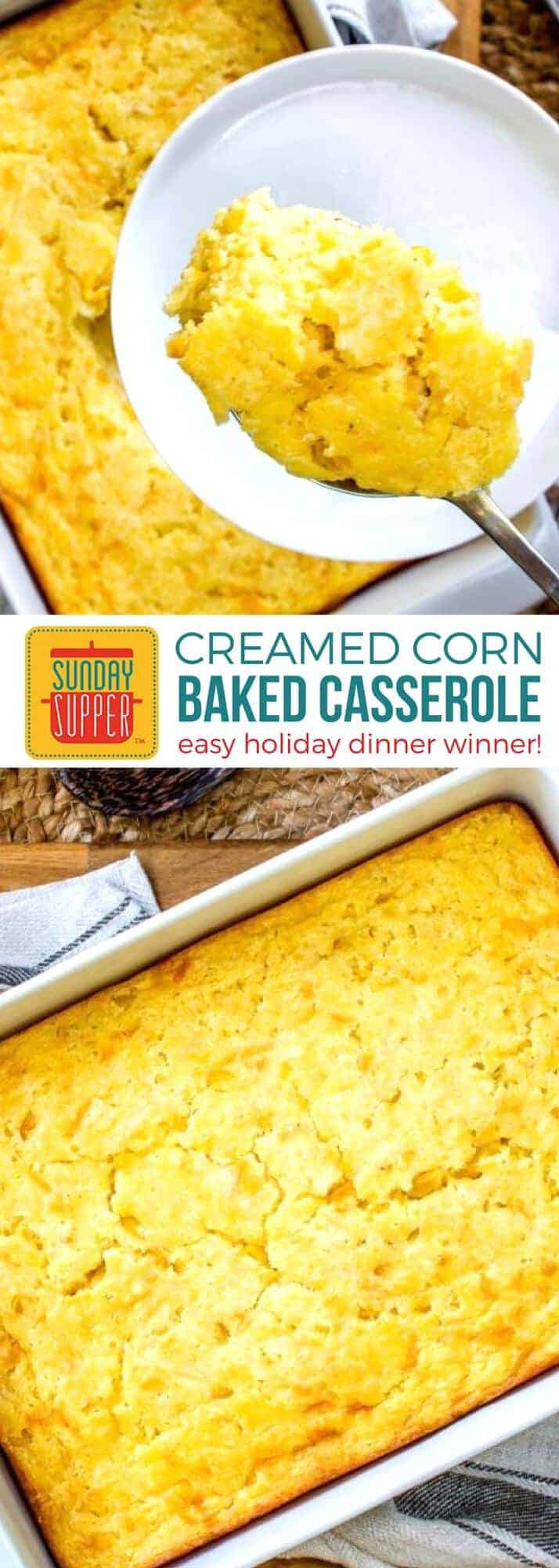 Everyone will go bananas over this holiday dinner winner! Baked Creamed Corn Casserole is easy to make with just a few ingredients & very little prep. This sweet and creamy Corn Casserole is richer & tastier and perfect for all your special occasions such as Christmas dinner and Thanksgiving dinner #SundaySupper #holidayrecipes #creamedcorn #casserolerecipes