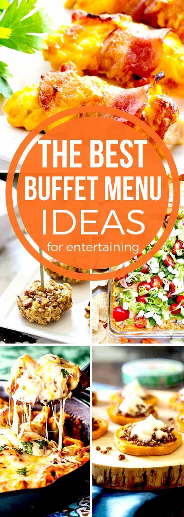 Easily plan FUN & FESTIVE parties for large groups with our BEST Buffet Menu Ideas! Appetizer recipes, side dish recipes, main dish dinner recipes & dessert recipes too, we've got you covered! Whether you are planning a holiday party for Christmas or New Year's Eve or maybe even a wedding rehearsal or reception, our collection of Buffet Menu Ideas will help you get organized! #SundaySupper #BuffetMenuIdeas #HolidayRecipes #MenuPlanning