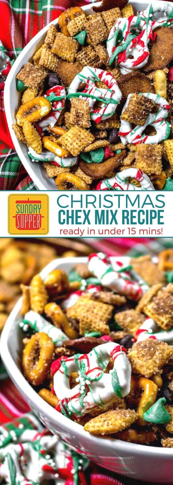 This festive Christmas Chex mix recipe will be your FAVORITE snack this holiday season. Perfect for a homemade food gift & for your buffet menu ideas too! During the holidays we all need a few simple recipes to fall back on to make entertaining friends and family just a little easier. This Christmas Chex is PERFECT for holiday parties or sharing with family and friends, and it takes less than 15 minutes to make! #SundaySupper #HolidayRecipes #ChristmasRecipes #EasyRecipe
