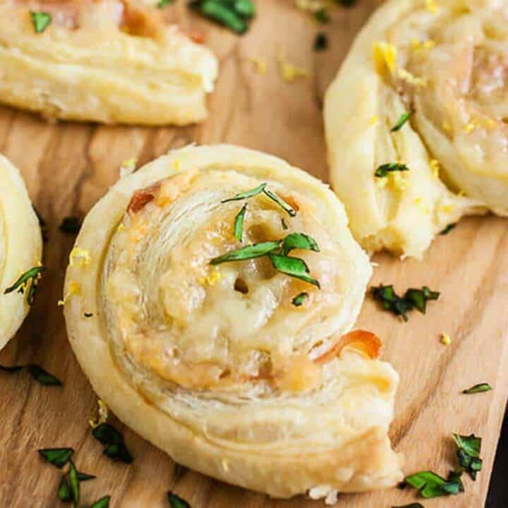 Gruyere and Prosciutto Puff Pastry Pinwheels #SundaySupper
