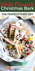 white chocolate christmas bark pin image
