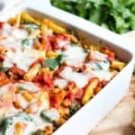 Healthy Freezer Meal Baked Ziti #SundaySupper