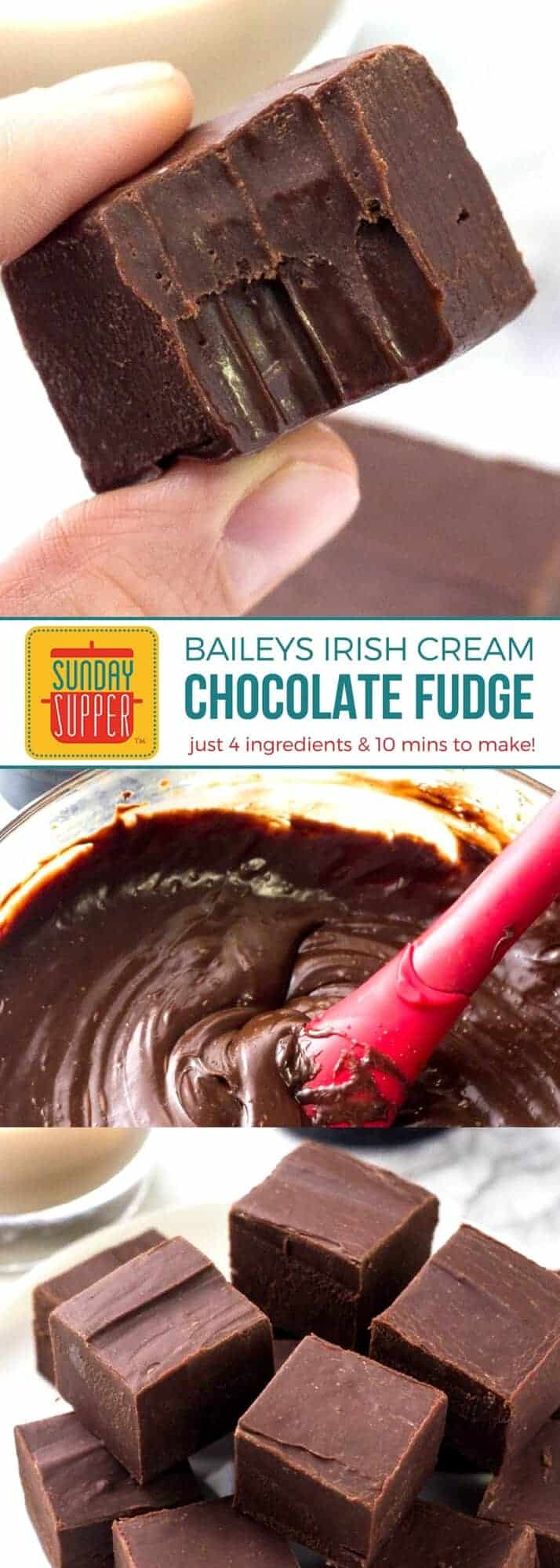 The PERFECT bite sized dessert! Baileys Fudge is smooth & creamy with a delicious hint of Irish Cream. With just 4 ingredients, this grown up chocolate fudge is super EASY to make! You will want to make this easy recipe for all your parties and game day gatherings. Perfect for gift giving too! Just package it up in a pretty box with a bow and you'll have a nice gift from the kitchen everyone will love! #SundaySupper #ChocolateFudge #BaileysIrishCream #HolidayGift #HolidayRecipes