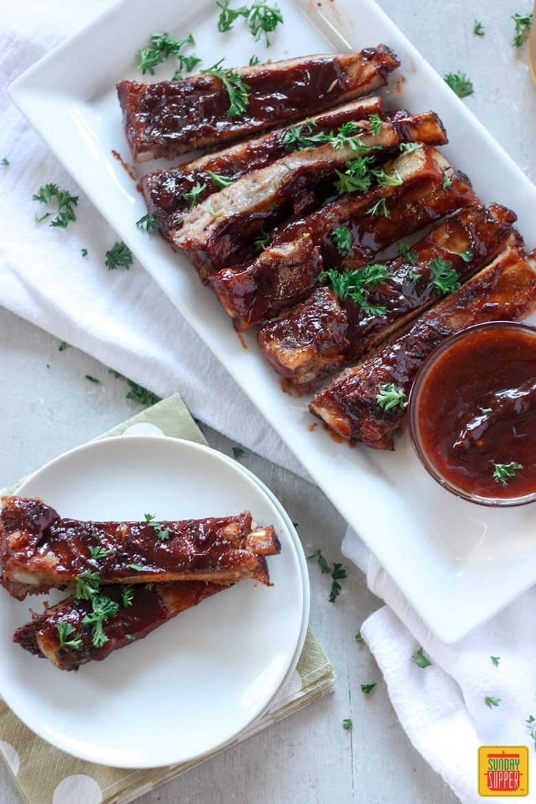 Slow Cooker Pork Ribs with Bourbon BBQ Sauce #SundaySupper