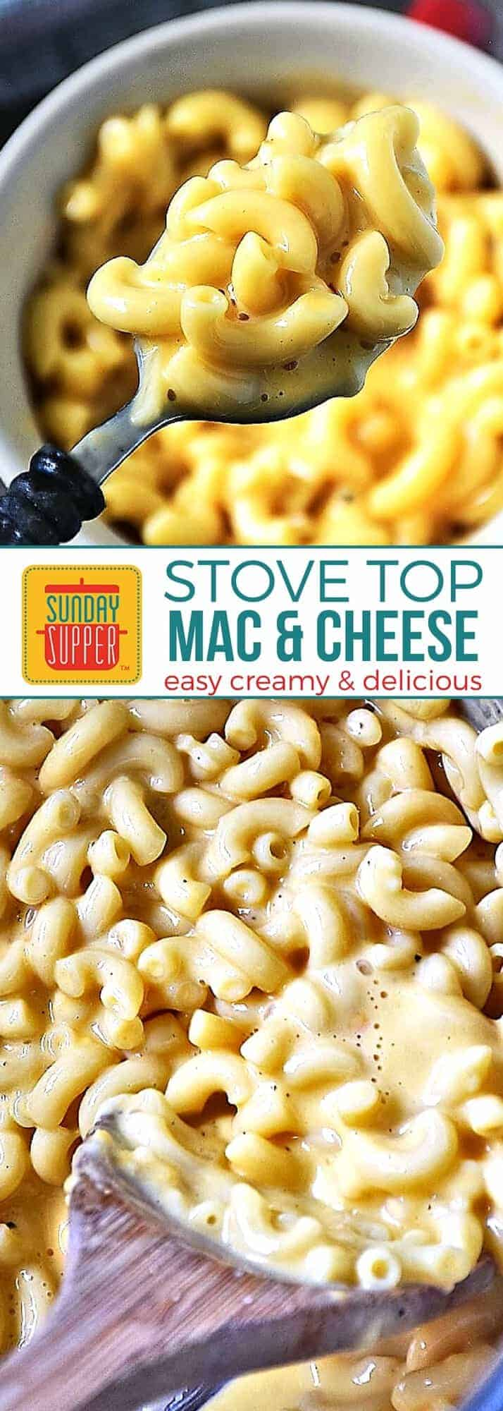 This is the mac and cheese recipe the whole FAMILY will LOVE! Our Easy Creamy Mac and Cheese recipe is adapted from Alton Brown's Mac and Cheese recipe. It's a stove top mac and cheese recipe, so it's SUPER EASY to make and very creamy delicious! Add this to your family Sunday Supper Recipes! #SundaySupper #MacnCheese #PastaRecipes #ComfortFoodRecipes