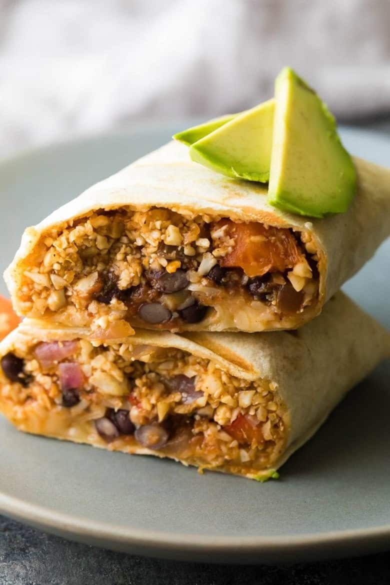 Freezer Cauliflower Rice Black Bean Burritos