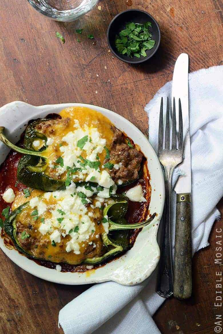 Cheesy Beef-Stuffed Poblano Peppers