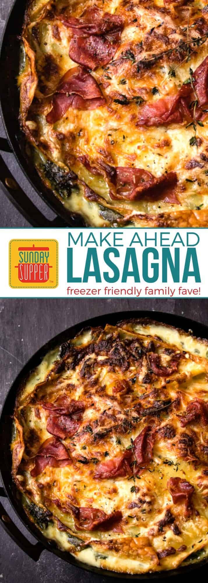 Start the new year healthy & organized! Add this HEALTHIER MAKE AHEAD LASAGNA recipe to your meal planning list. A hearty, cheesy, healthier lasagna recipe loaded with cheese and spinach and is freezer friendly too! This easy recipe will quickly become a family favorite! #SundaySupper #HealthyLasagna #MakeAheadFreezerMeal #FamilyFavorite
