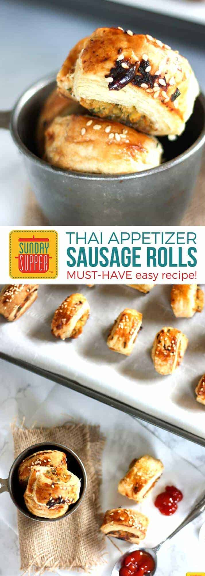 Thai Sausage Rolls are the PERFECT finger food for a party! Easy to make, delicious & fuss free makes this one of our favorite New Year's Eve Menu Ideas! Easy appetizer recipes like our Thai Sausage Rolls are perfect for game day too. They are easy football food for a crowd full of bite sized deliciousness! #SundaySupper #AppetizerRecipes #ThaiSausageRolls #EasyFootballFood