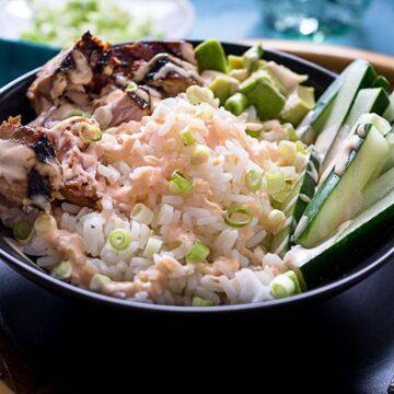 Tuna Rice Bowl with Yum Yum Sauce #SundaySupper