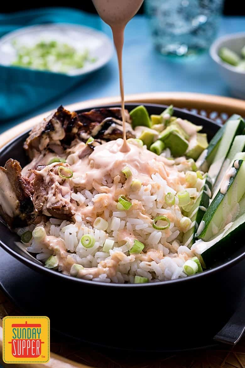 Tuna Rice Bowl with Yum Yum Sauce