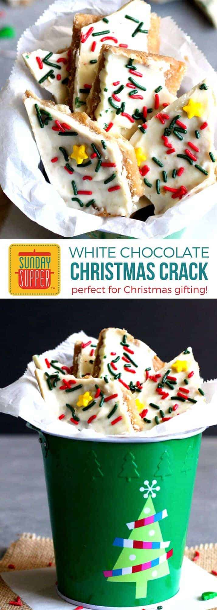 Our White Chocolate Christmas Crack Recipe is the EASIEST and most addicting treat you will make this holiday season. These treats will pack nicely in a little goodie bag tied up with a pretty bow, PERFECT for Homemade Holiday Food Gifts for Christmas gifting or adding to your list of Buffet Menu Ideas for a quick dessert option! Kids and adults alike will LOVE this White Chocolate Christmas Crack!! #holidayrecipes #christmasrecipes #foodgift #easyrecipe #SundaySupper