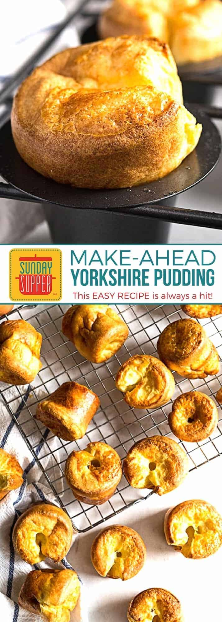 This EASY Yorkshire Pudding Recipe is a MUST ADD to your make ahead dinner party recipes list. This traditional English food is always a hit with guests, tailor-made to accompany stew or any dish with a tasty sauce or gravy. They work great for brunch too with your favorite jam or some clotted cream. Deliciously fluffy with a crispy outside, this egg-y Yorkshire Pudding Recipe is the perfect addition to your holiday table. #SundaySupper #ComfortFoodRecipes #MakeAheadRecipes #HolidayRecipes