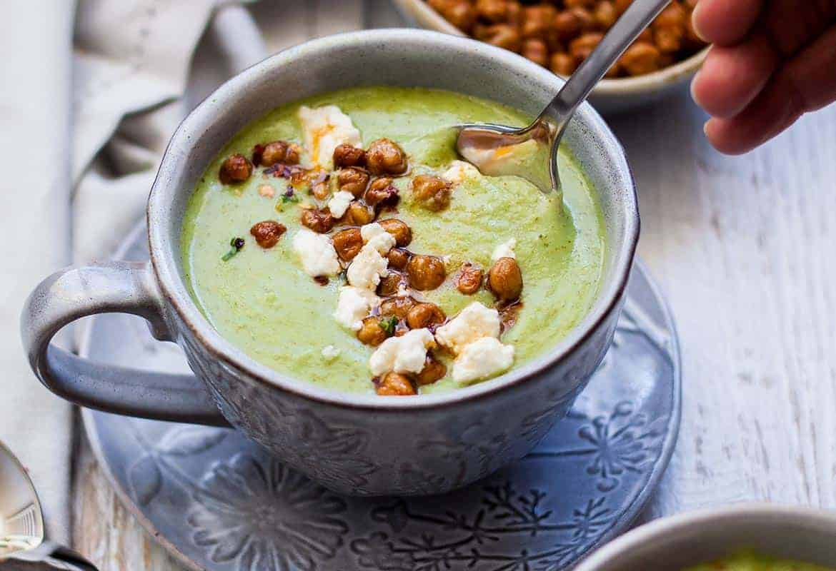 Easy Broccoli Soup with Spicy Roasted Chickpeas
