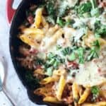 This Italian sausage, kale pasta bake is the perfect meal for two. Fresh, light and simple, this pasta bake is delicious and great for a simple weeknight meal