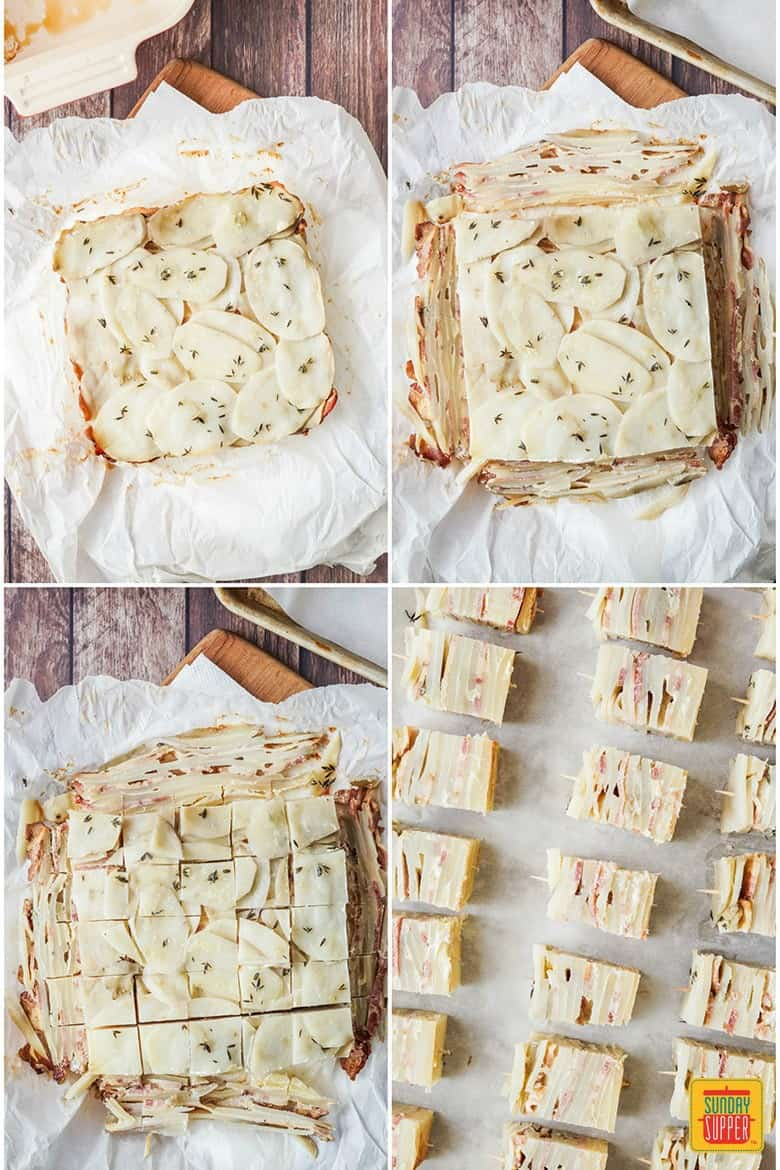 Step by Step photos to make Potato Pave with Bacon and Parmesan- showing layering the sliced potatoes with cheese and bacon and the final product on toothpicks before baking