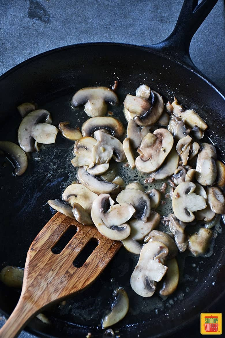 Ground Beef Stroganoff Skillet Recipe sauteing mushrooms