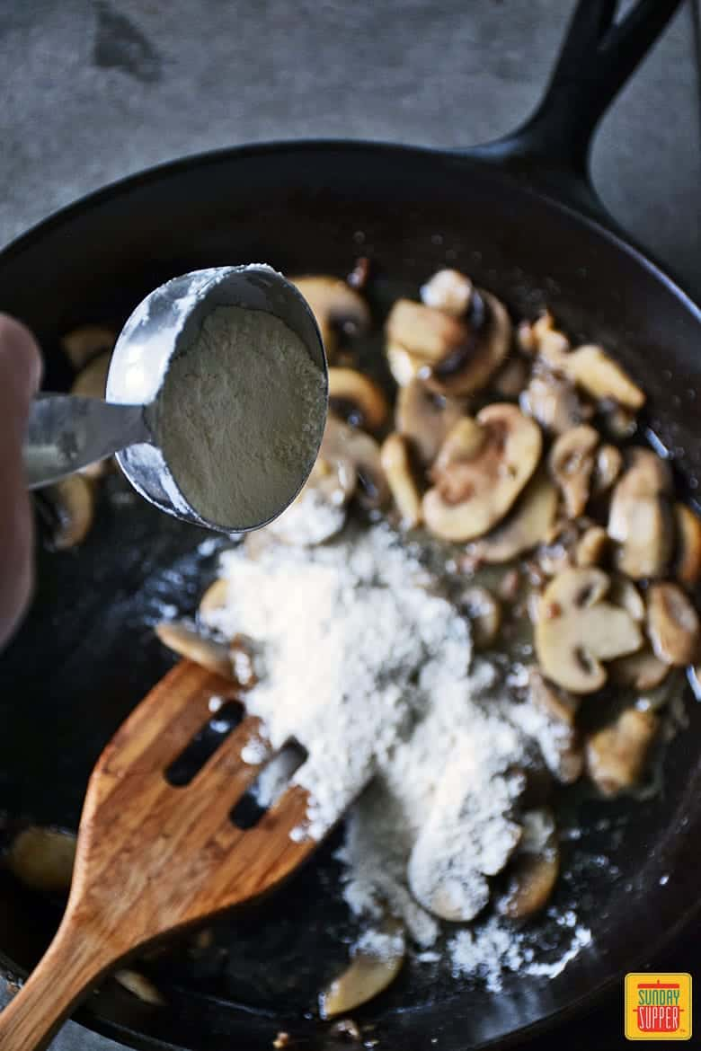 Ground Beef Stroganoff Skillet Recipe adding flour