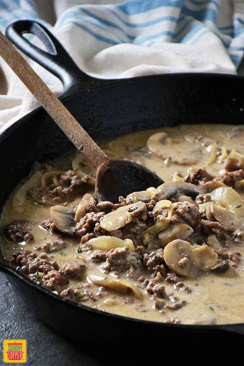 Ground Beef Stroganoff Skillet Recipe mixing in sour cream