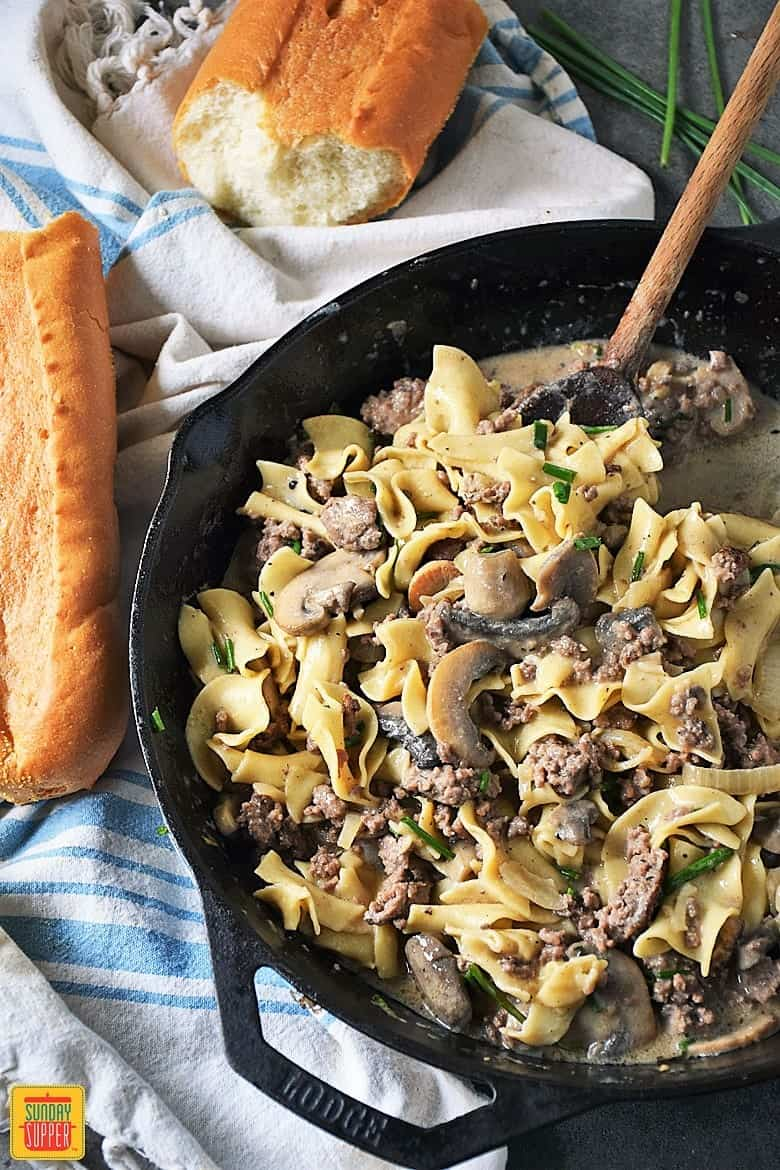 Hamburger stroganoff in a skillet