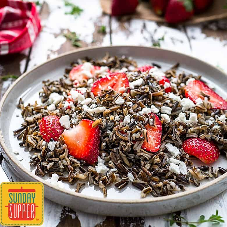 Healthy Strawberry Wild Rice Salad #SundaySupper