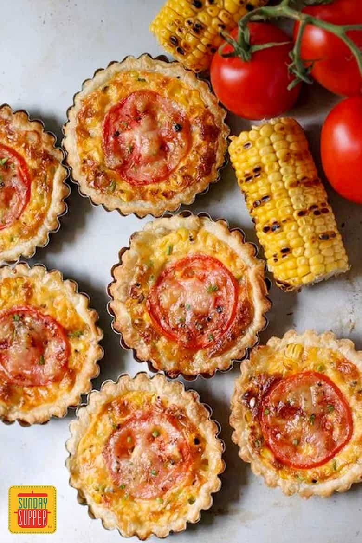 Cheesy Tomato Corn Tartlets