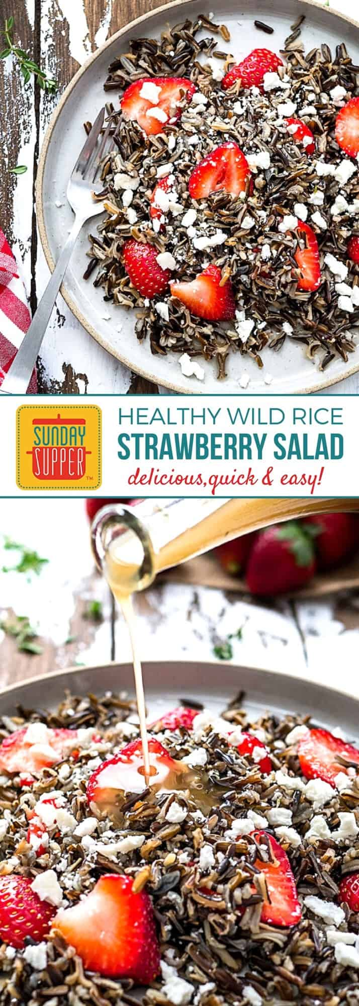 Loaded with good-for-you stuff, our hearty Wild Rice Salad is quick and easy to make for a wholesome lunch or dinner. Featuring one of winter's brightest stars on the produce scene, Florida Strawberries, this Healthy Family Recipe is not only good for you, but it is beautiful and delicious too! #SundaySupper #FLStrawberry #HealthyRecipes #StrawberryRecipes #SaladRecipes #WildRiceSalad