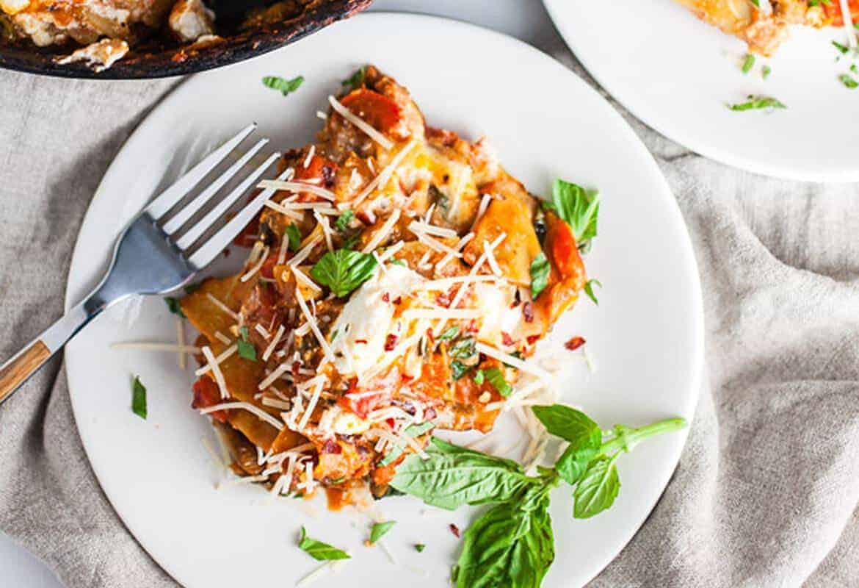 Cheesy Vegetarian Skillet Lasagna #SundaySupper