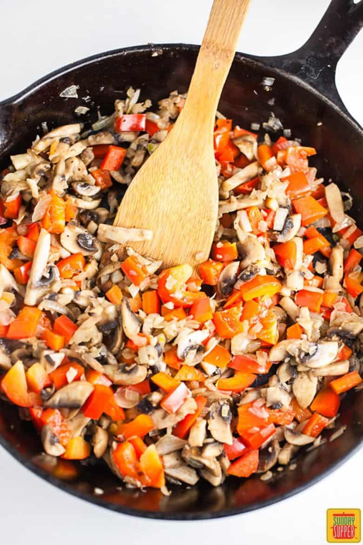 Cooking vegetables for skillet lasagna
